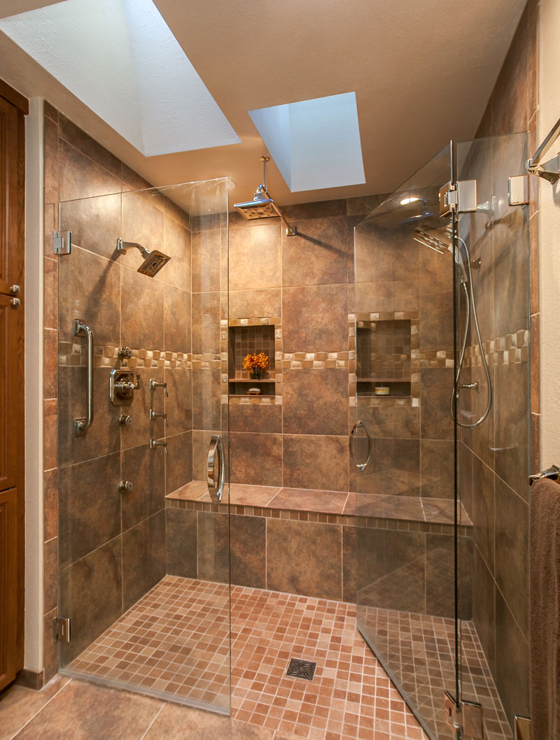 Amazing shower in this master bath renovation in denver for Custom master bathroom designs