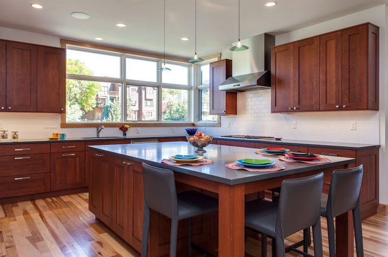 eat in kitchen with center kitchen island in this denver remodel