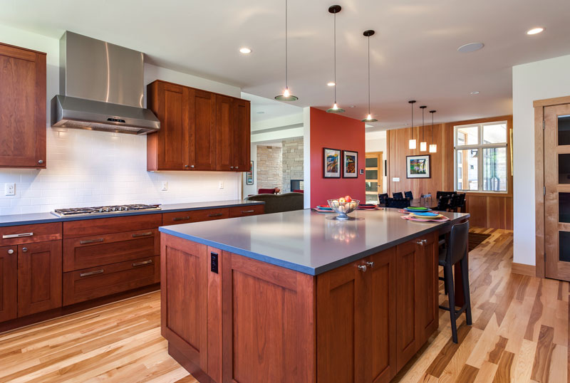 eat in kitchen with center island in this denver kitchen renovation