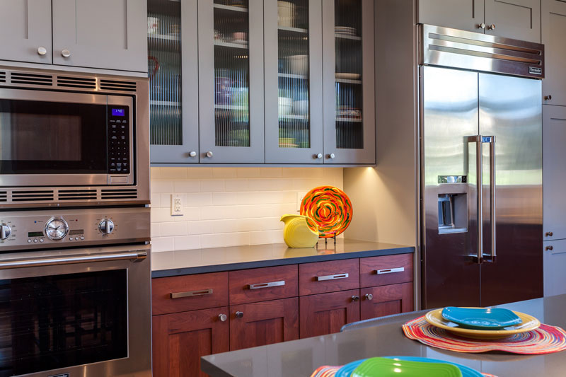 Modern Kitchen Remodel wood cabinets mixed with grey cabinetry