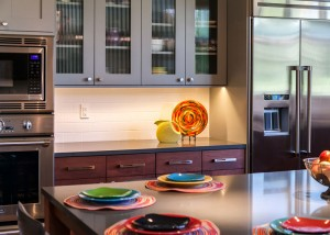 mixed color cabinets open glass fronts