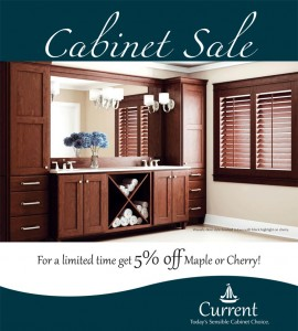 5 percent off maple or cherry wood cabinets in the current link of cabinetry