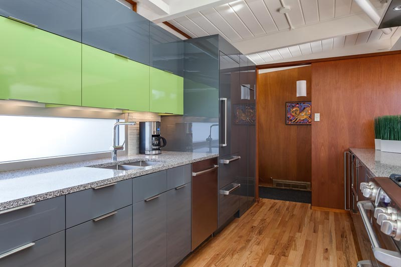 Glass And High Gloss Laminate Cabinets In Lime Green And Grey
