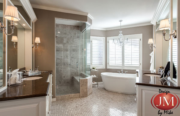 Greenwood Village Master Bath Remodel with crisp white japanese tub and curbless double shower