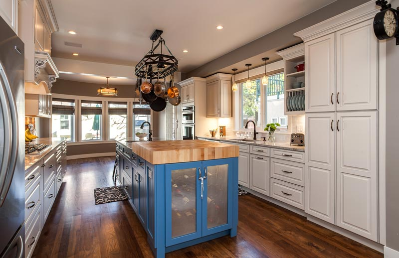 beautiful painted shaker farm house style kitchen in blue and white - Kitchen Remodeling Denver Co