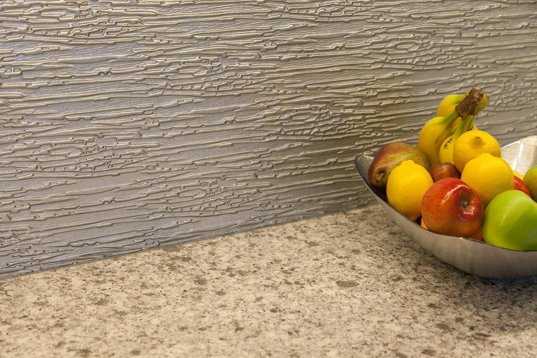 unique backsplash sets off this contemporary kitchen in Denver colorado
