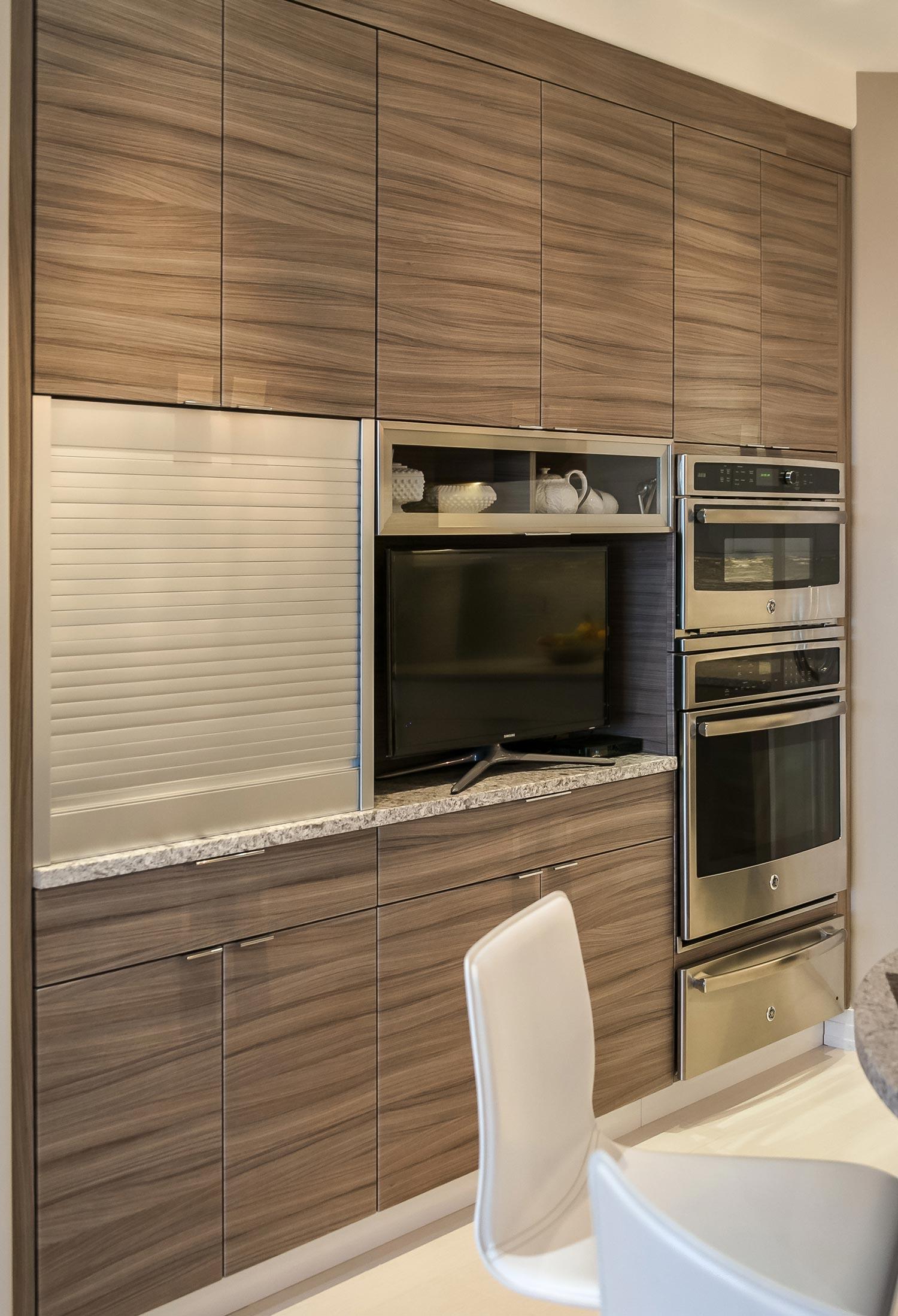 Contemporary Denver Kitchen Features White Glass Cabinets JM