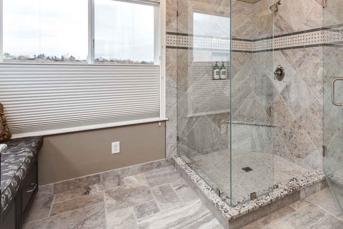 Huge shower beautiful master bathroom remodel Cherry Hills Village CO