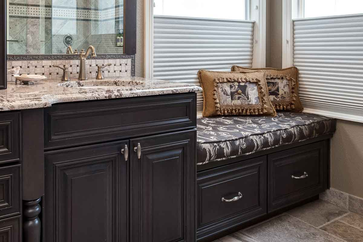 custom upholstery on bathroom bench seat beautiful master bathroom remodel Cherry Hills Village CO