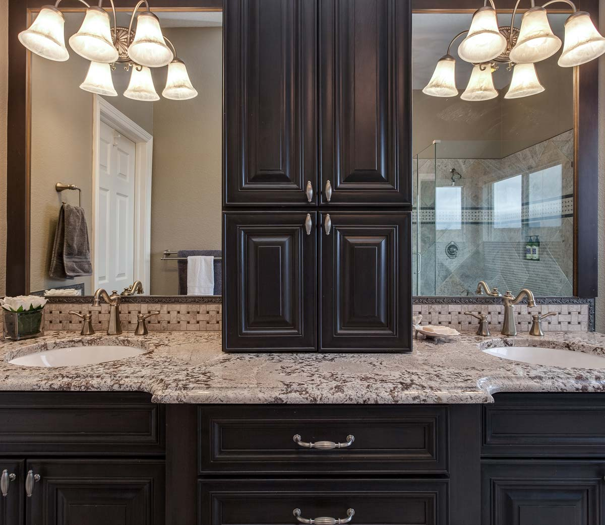 Amazing custom cabinets in the master bath remodel Denver co