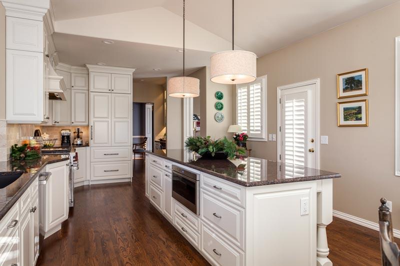 Built in microwave drawer white cabinets kitchen remodel greenwood village kitchen