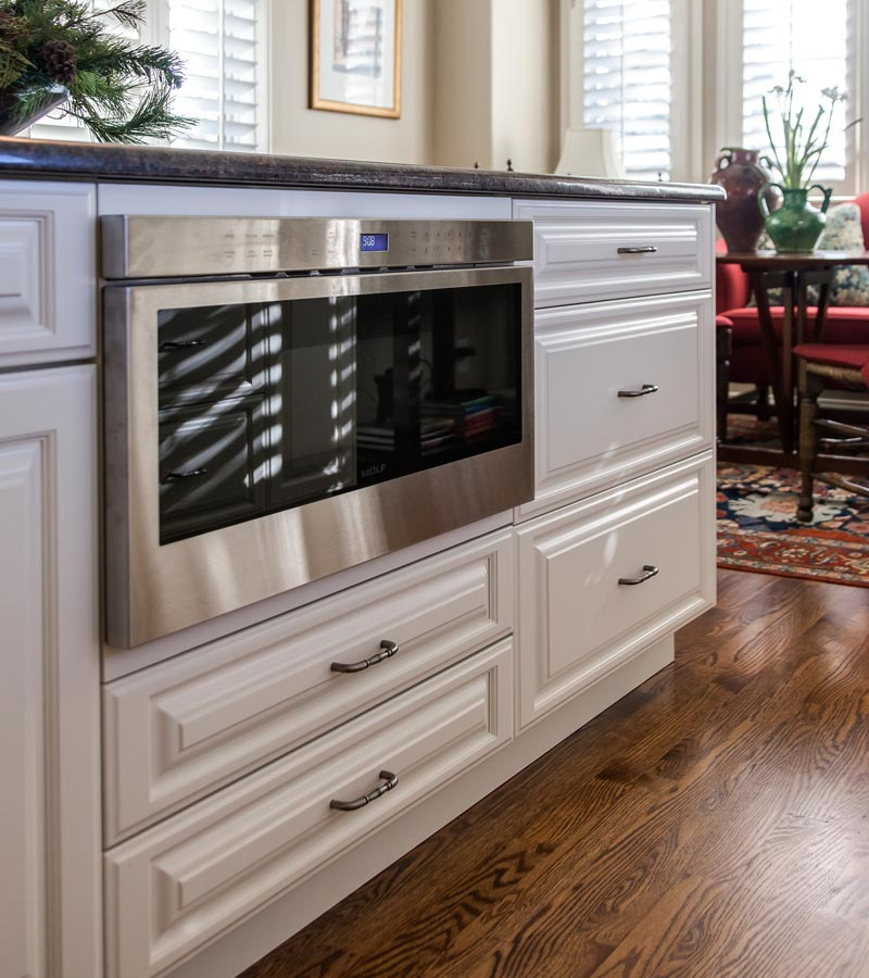 Built in microwave drawer white cabinets kitchen remodel greenwood village kitchen