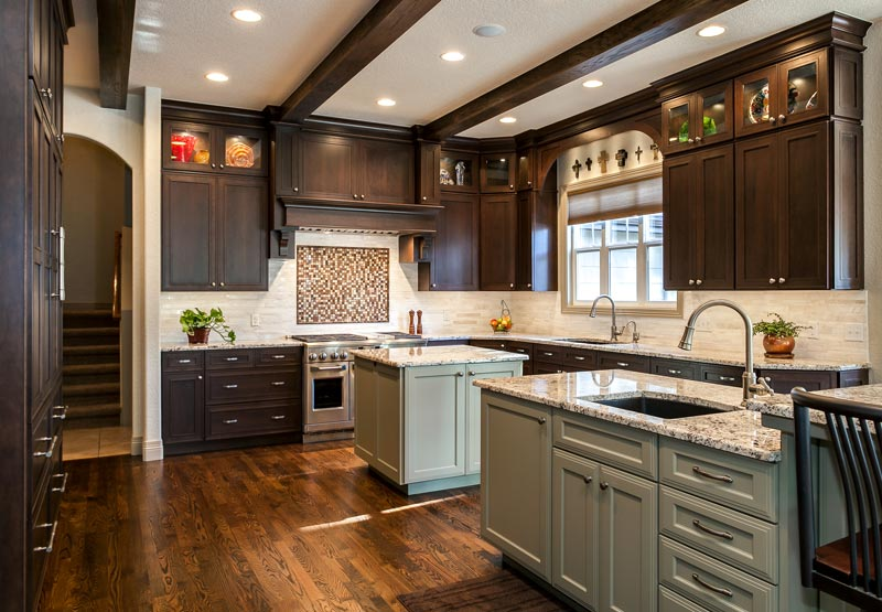 Denver kitchen remodel features butlers pantry 2 islands for Kitchen plans with island and pantry