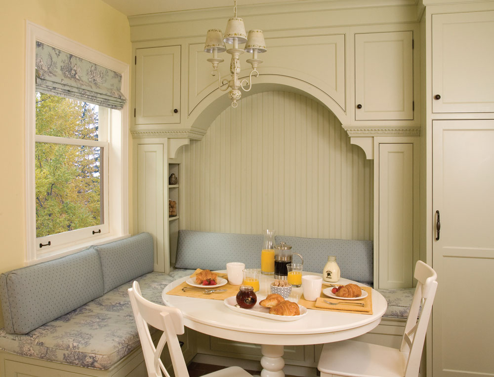 Yellow Painted Wood Arts & Crafts Breakfast Nook