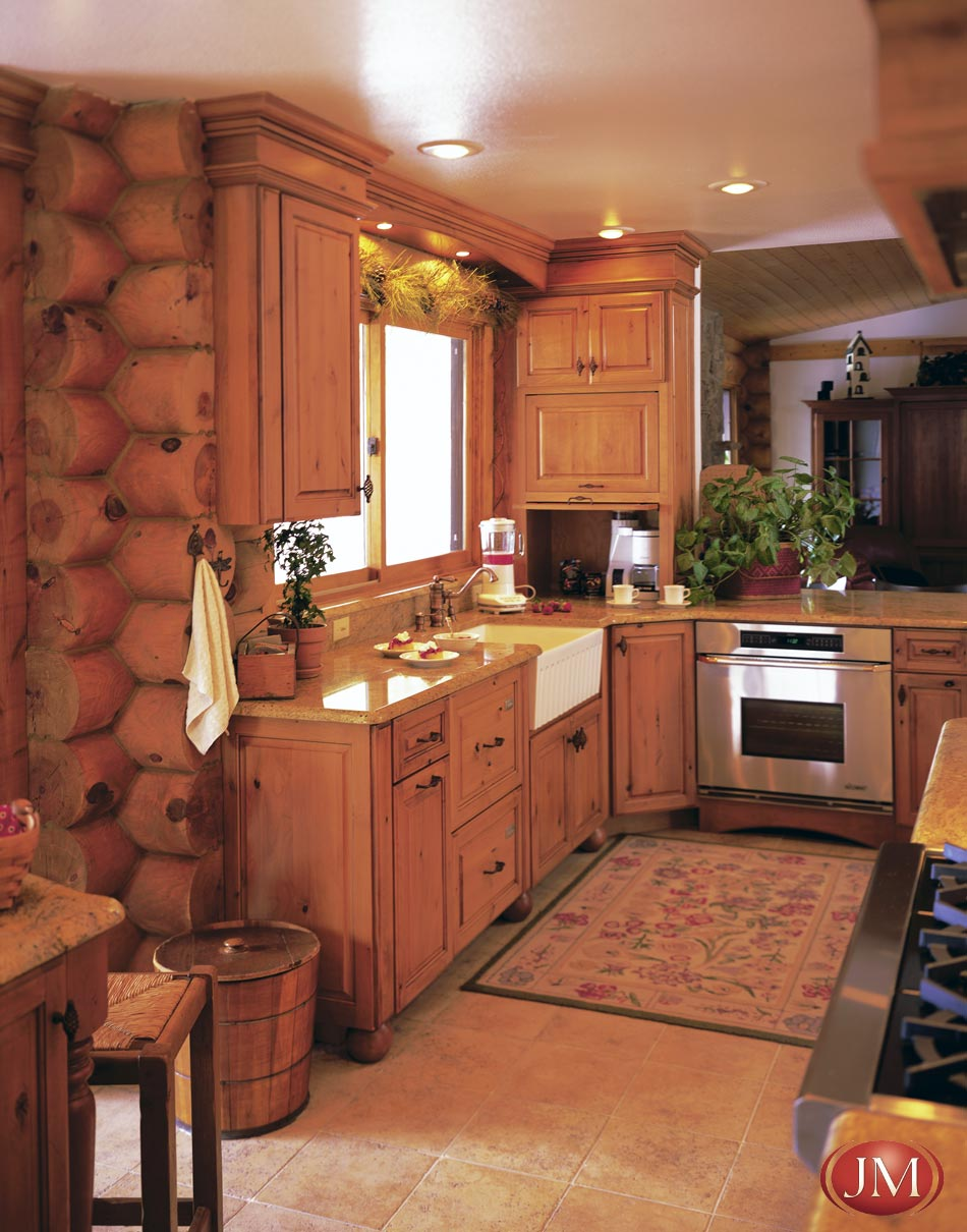 White Log Cabin Kitchen