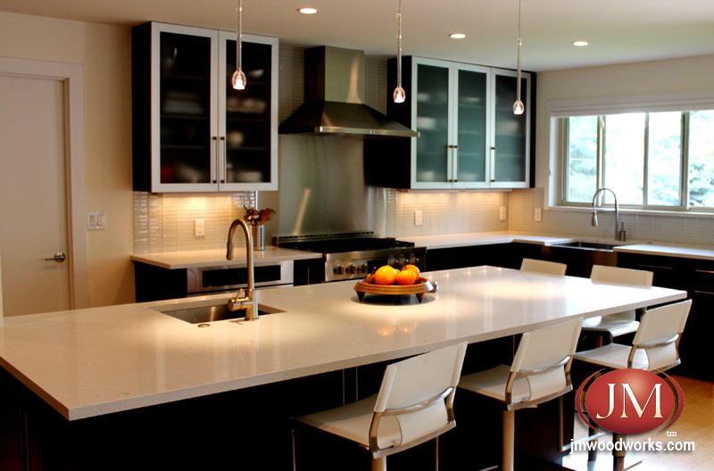 Semi Custom Contemporary Black And White Kitchen By Jm Kitchen Designers In Denver Co