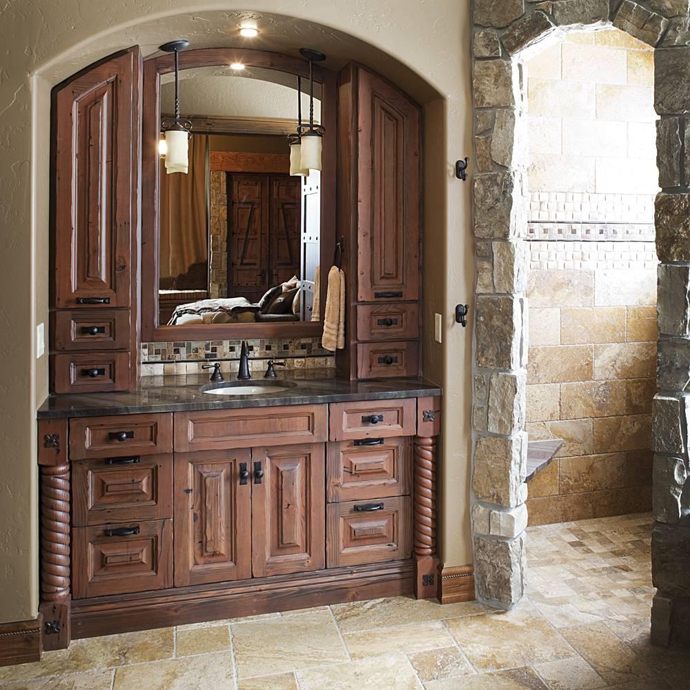 Semi Custom Bathroom Cabinets #25: Dramatic Custom Bath With Arched Cabinetry And Deep Wood Tones.