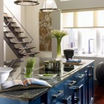 Custom painted blue cabinetry in this one of a kind kitchen.
