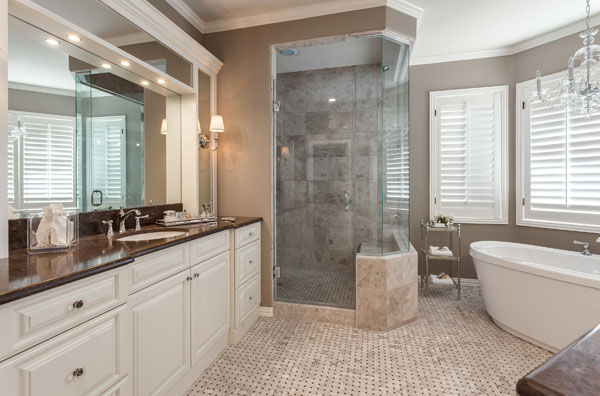 double curbless shower with european doors in greenwood village co