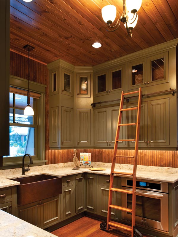Painted Farm Style Kitchen with Library Ladder to reach those top cabinets.