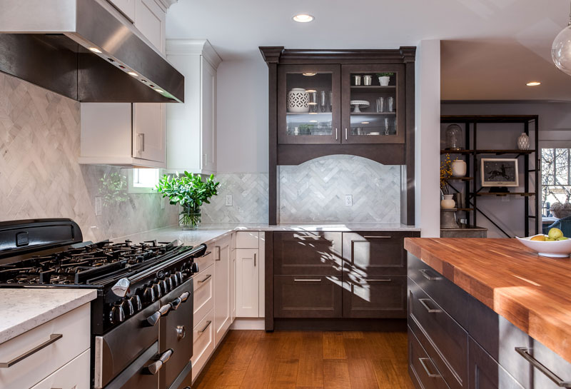 White Shaker Kitchen Cabinets Espresso Island Butlers Pantry Best Kitchen Remodeling Denver Style