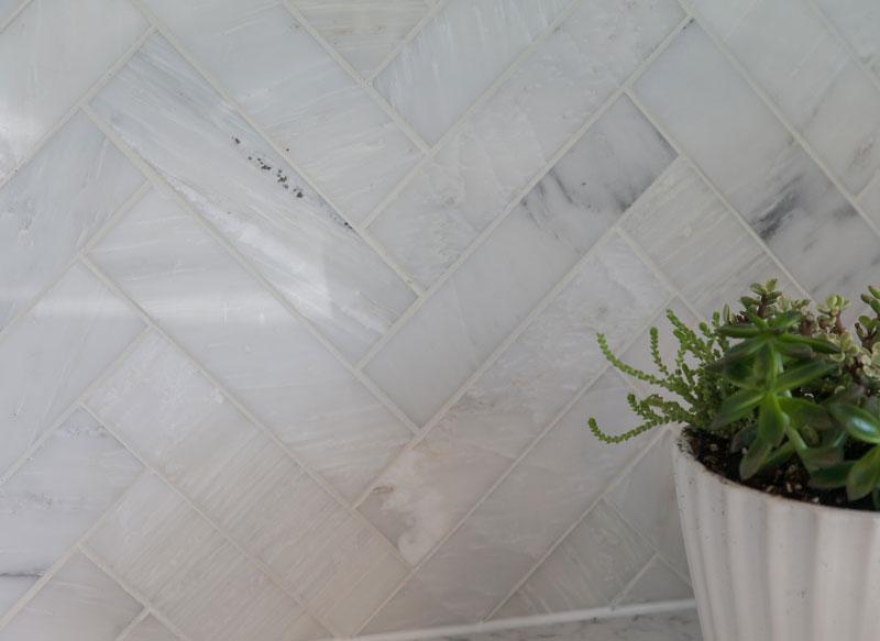 quartz tile kitchen backsplash detail