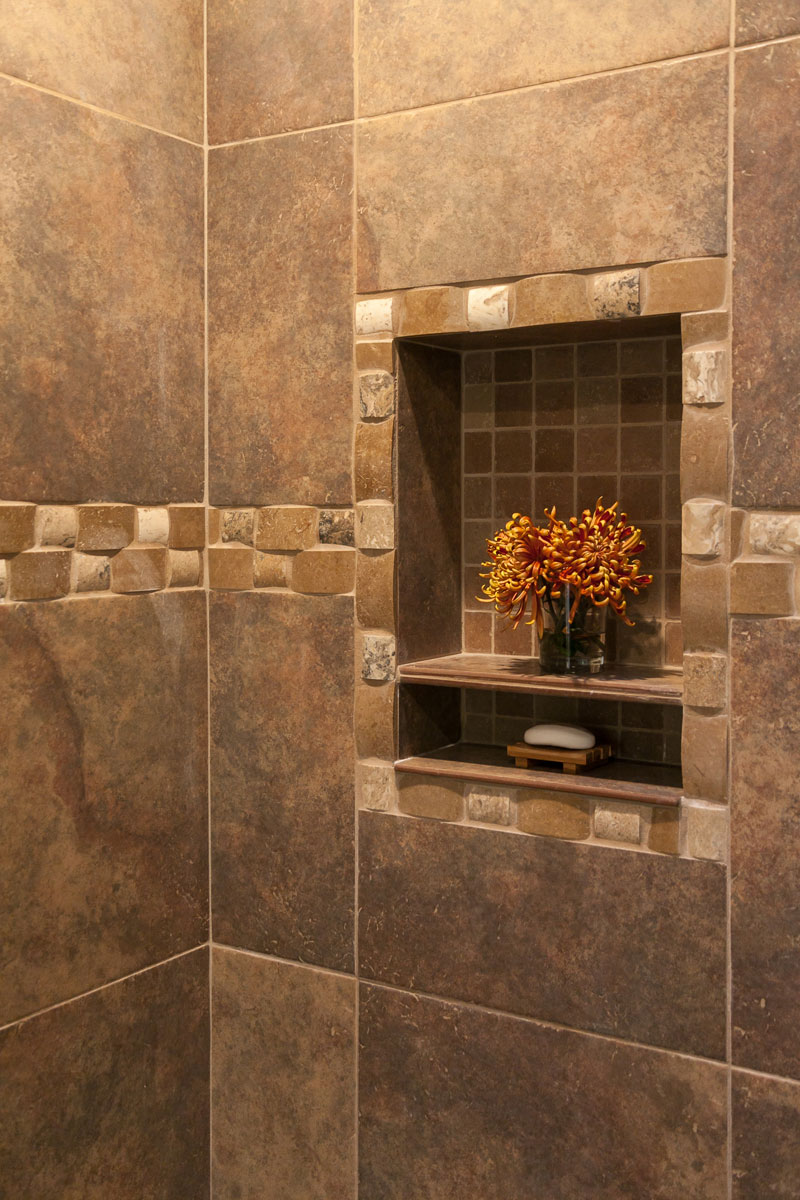 Amazing shower in this master bath renovation in denver Master bathroom tile floor