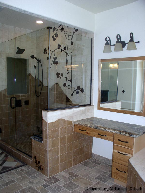 rocky mountains custom mosaic tile highlight this custom bathroom