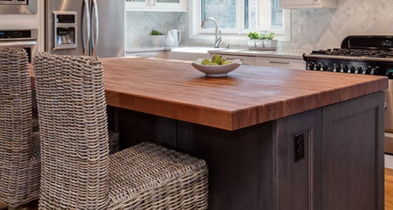 cherry wood butcher block kitchen countertop