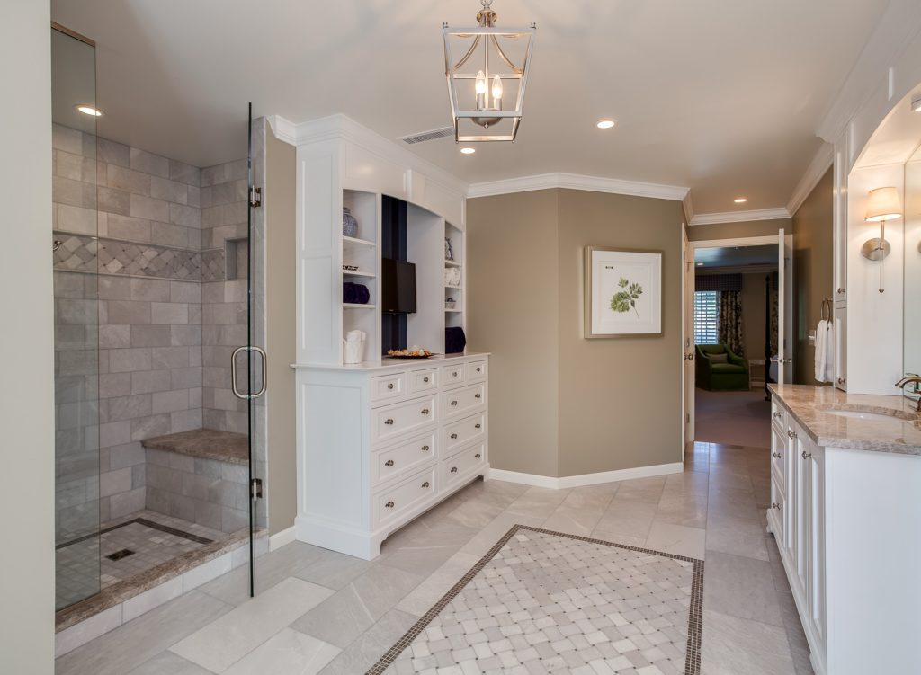 Large master bathroom with custom cabinetry