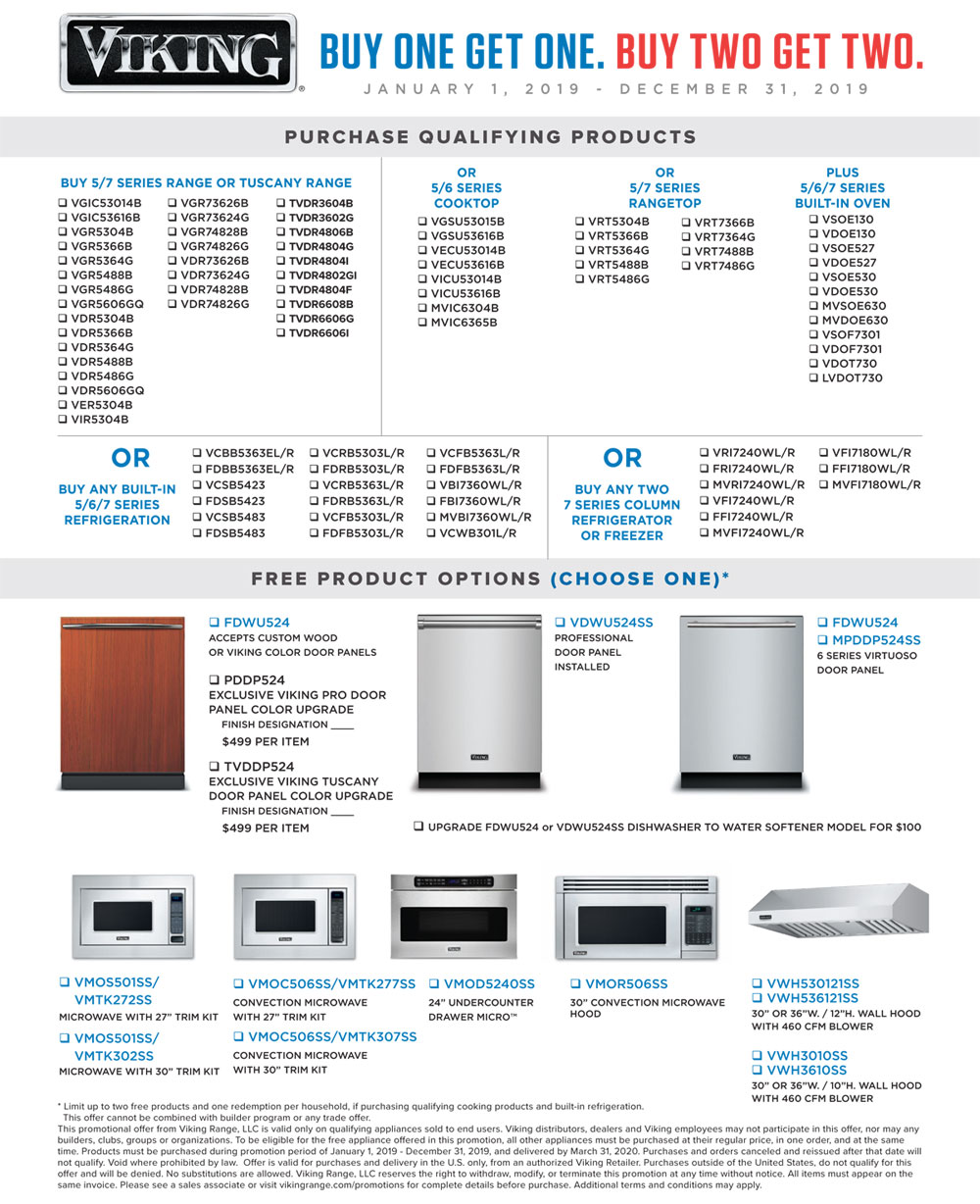 Viking Buy one get one Appliance promotion 2019