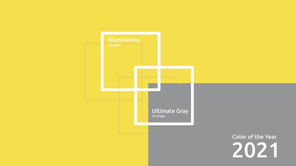 Pantone Colors of the Year 2021 Ultimate Gray and Illuminating yellow.