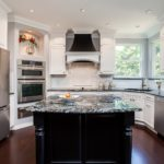 White painted cabinet kitchen with black painted island