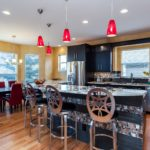 Bright kitchen with colorful backsplash
