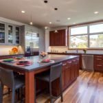 Cherry wood kitchen with large center island