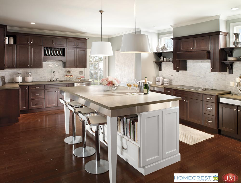 Cherry kitchen cabinets with center island homecrest cabinet promotion Denver CO