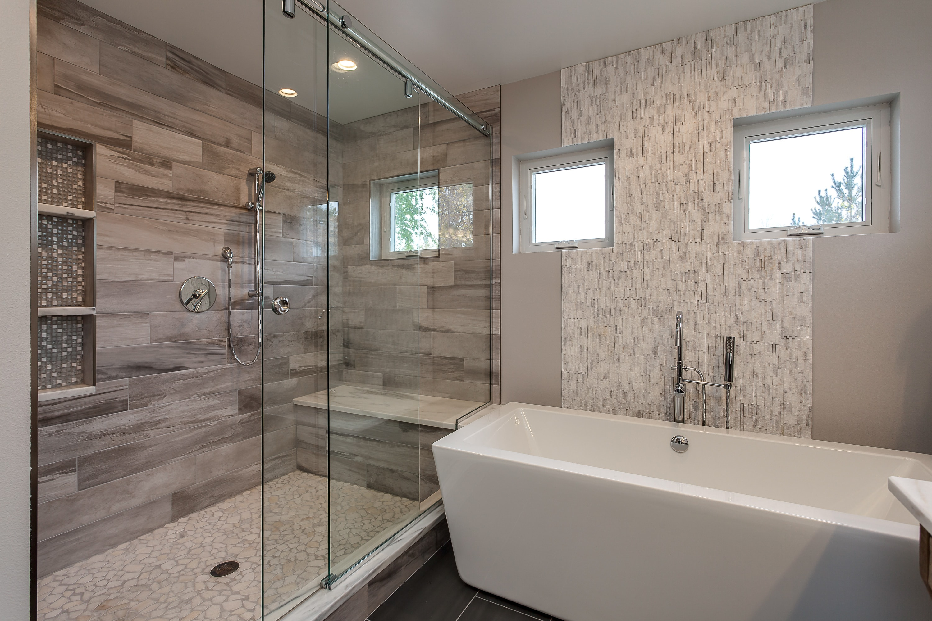 Contemporary bathroom with walk-in shower