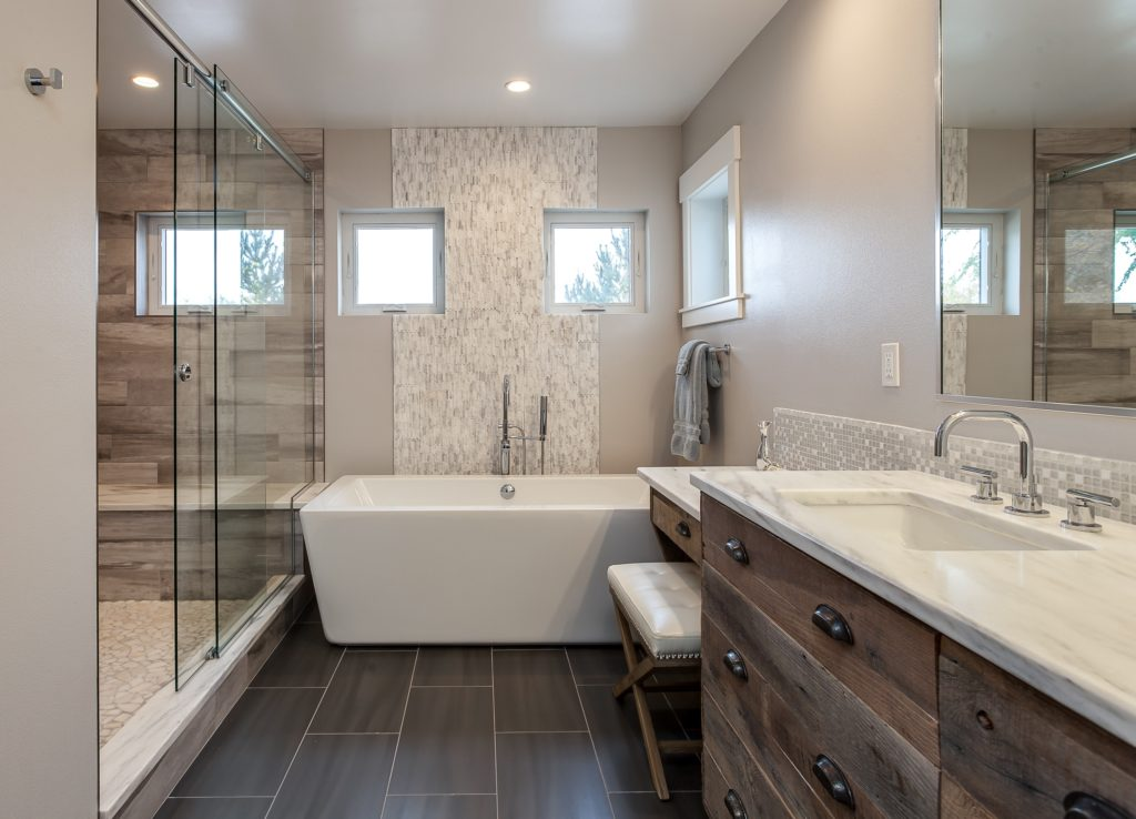 Tub and shower in bathroom