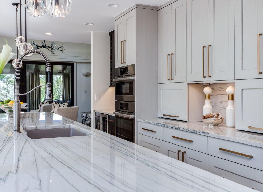 Grey Cabinets and two appliance garages