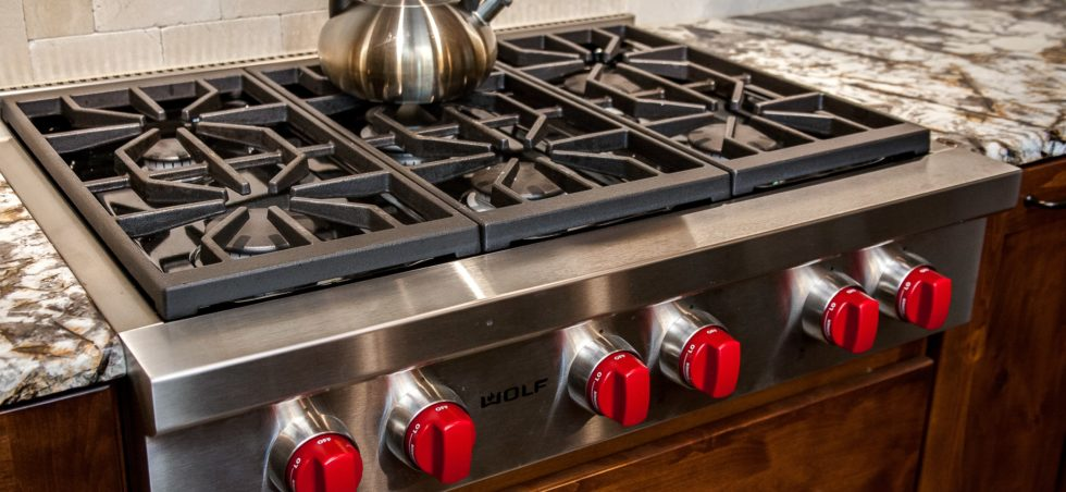 Close up of Wolf gas stove