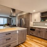 Natural wood with grey tint cabinet kitchen