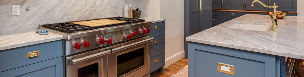 Custom painted cabinetry and hood