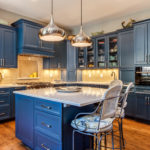 Open shelving in this blue painted kitchen remodel castle Rock colorado