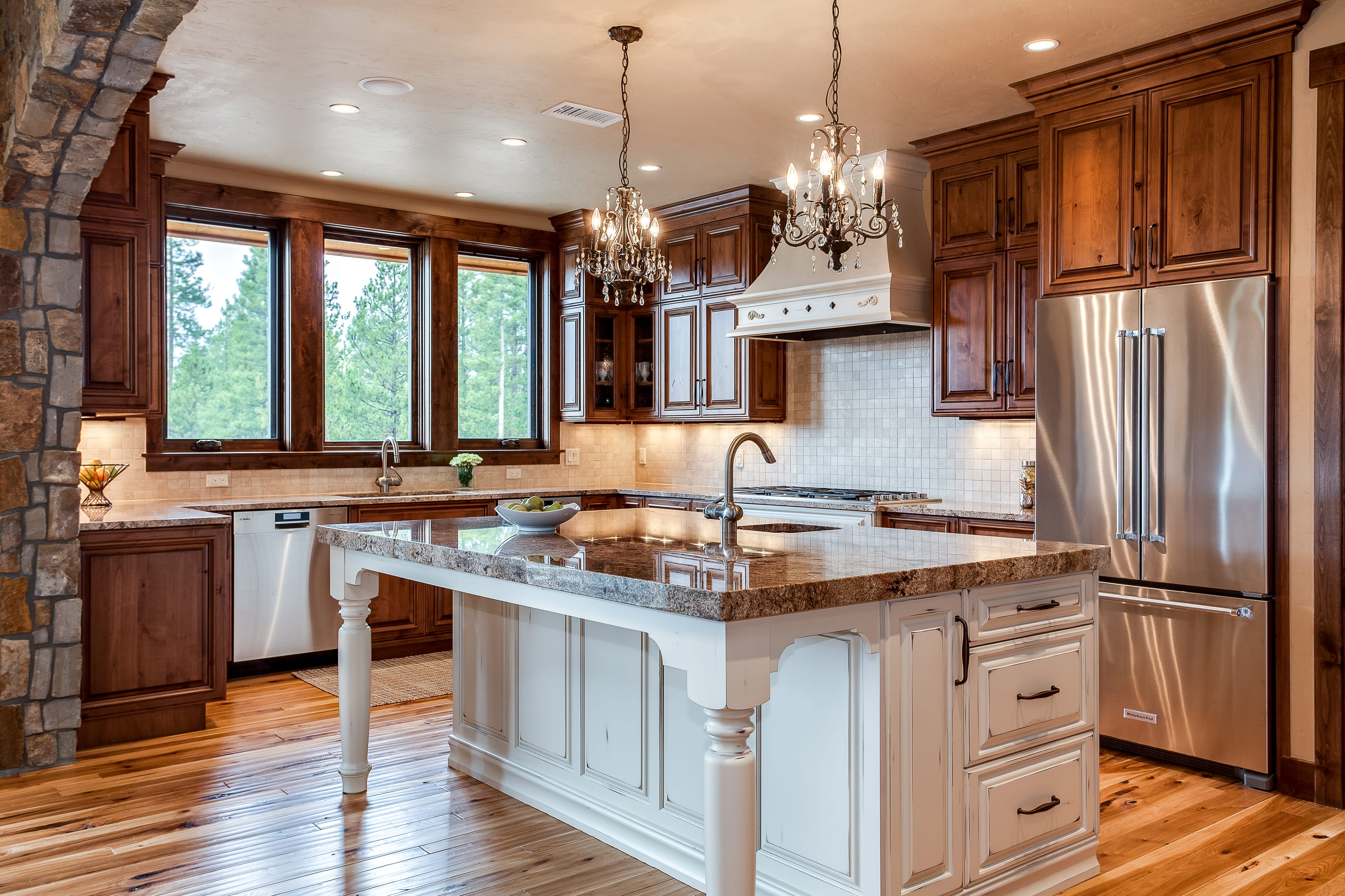 ... Natural Wood Cabinet Kitchen With Small Chandeliers Over Island ...