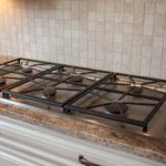 Close up custom gas stove top