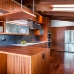 Contemporary red wood kitchen