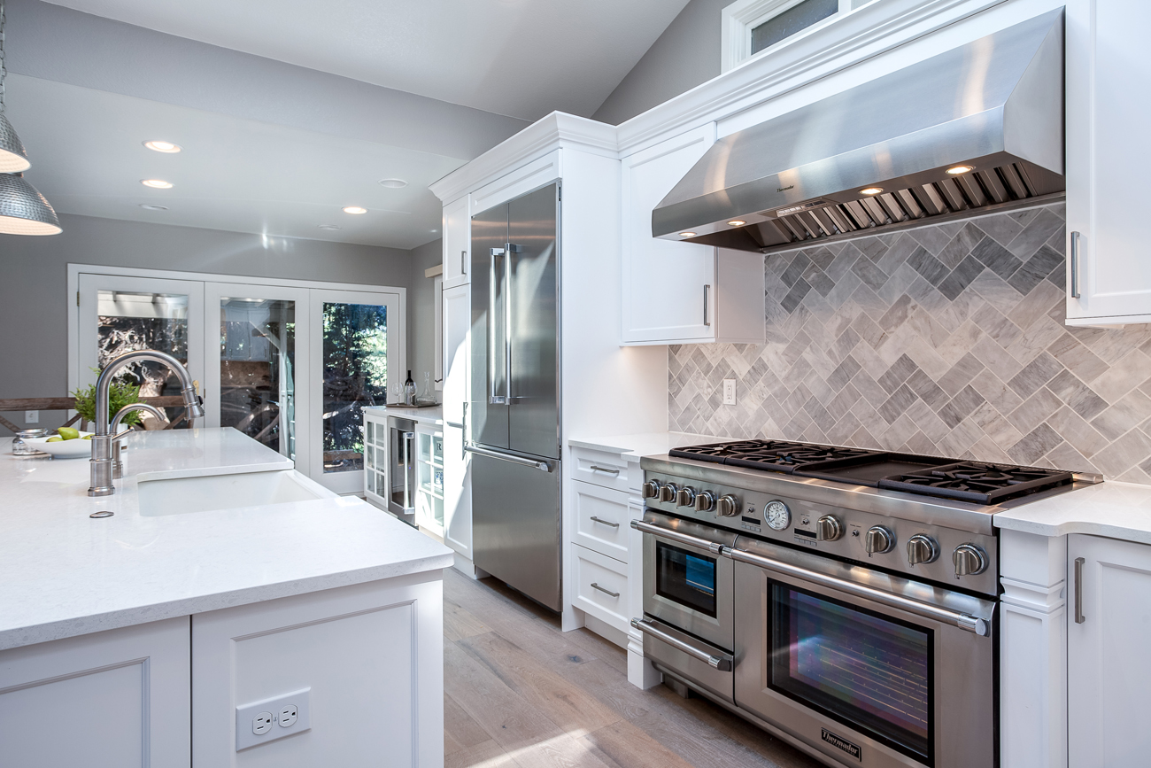 white on white stainless steel appliances kitchen remodel