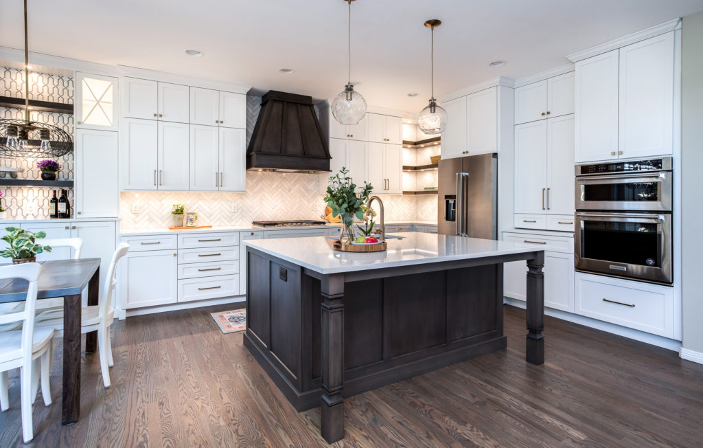 Custom Kitchen Remodel Highlands Ranch Colorado features white shaker cabinets and Kitchen Aid Appliances