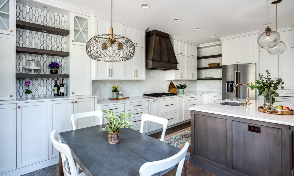 "The countertops in this remodel are Silestone Quartz ""Eternal Statuario"" Glossy, with an eased edge."