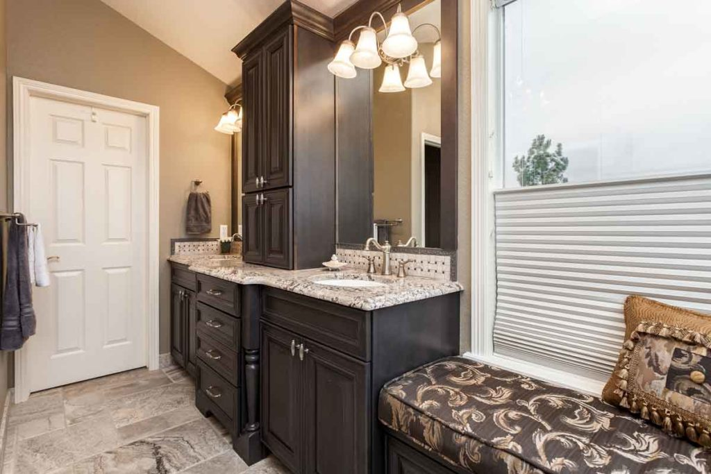 Custom bathroom vanity in dark wood